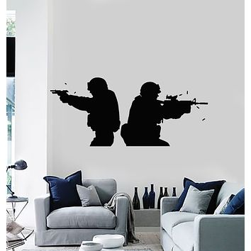 Vinyl Wall Decal American Soldiers Military Army Weapons Stickers Mural (g1438)