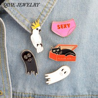 QIHE JEWELRY 5pcs/set Cat In The Box Sexy Underwear Bird Cute Ghost Hard Enamel Pins Lapel Pin for Her Lapel Pin for Him