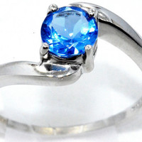 1 Carat Tanzanite Round Ring .925 Sterling Silver Rhodium Finish White Gold Quality