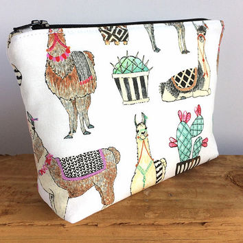 Llama Bag - Llama Gifts - Llama Makeup Bag - Cactus Bag - Best Friend Gift - Make Up Bag - Cosmetic Zip Pouch - Cute Pencil Pouch