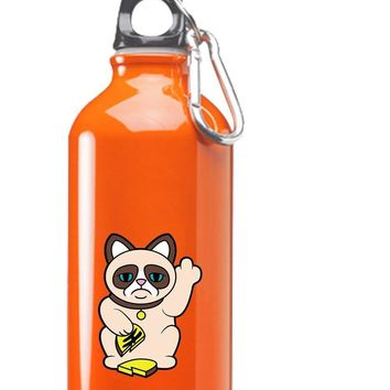 Hat Shark Grumpy Neko Unlucky Lucky Cat With Broken Coin 3D Color Printed 17 oz Stainless Steel Water Bottle Orange