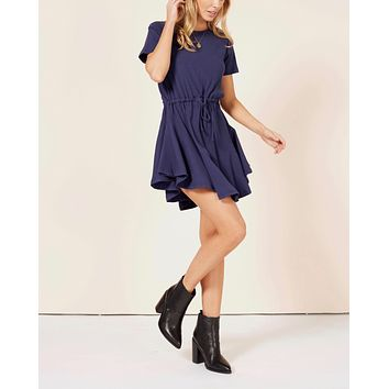 minkpink - romanticize drawstring dress - navy
