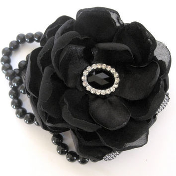 Licorice Black Romantic Rose Pearl Wrist Corsage Bracelet  Bridesmaid Mother of the Bride Prom with Black Rhinestone Accent Custom Order