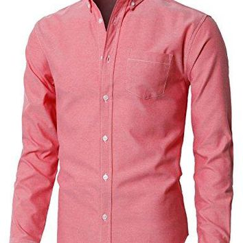 H2H Mens Oxford Cotton Slim Fit Casual Button-down Shirts Long Sleeve