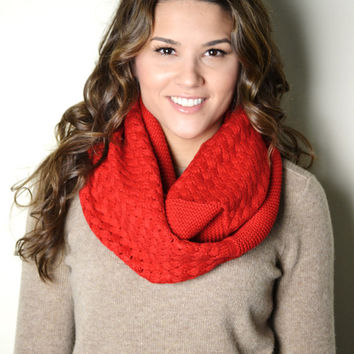 RED Chunky Knitted Woven Pattern and Solid mix Infinity Loop Circle Scarf Women's Snood Cowl