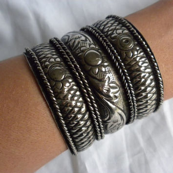 Wide Cuff Bracelet Pewter Tone Antiqued Metal Sunflower Floral Pattern Repousse Gifts for Teenagers Gift for Women Hipster Girl Bold Jewelry