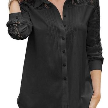 Chic Black Lace Splice Long Sleeve Button Down Shirt