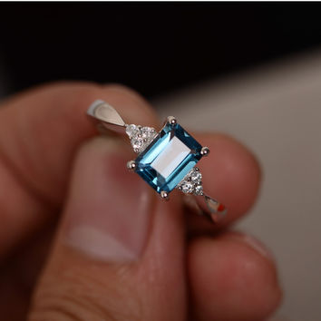 RING FOR WOMEN 6X8MM 1.3CT EMERALD CUT LONDON BLUE TOPAZ RING GEMSTONE RING STERLING 925 SILVER ENGAGEMENT WEDDING