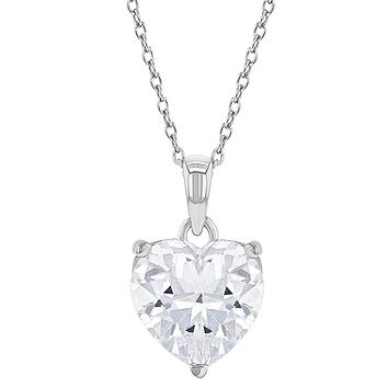 925 Sterling Silver Solitaire Clear CZ Heart Pendant Necklace for Girls or Teens 16""