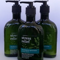 3 PACK Bath & Body Works AROMATHERAPY Stress Relief EUCALYPTUS SPEARMINT Hand Soap 8 oz
