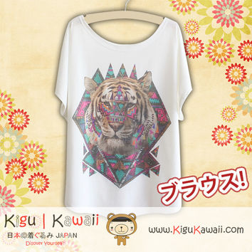New Artistic Tiger Fashionable Loose and High Quality Spring and Summer Tshirt Free Size KK437