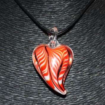 Murano Glass Heart (Orange, White) Pendant Necklace!