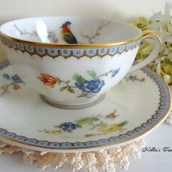Theodore Haviland Paradise Vintage Fine Bone China Cup and Saucer with Red Blue Yellow Flowers and Bird,Limoges France, Antique Tea Cup