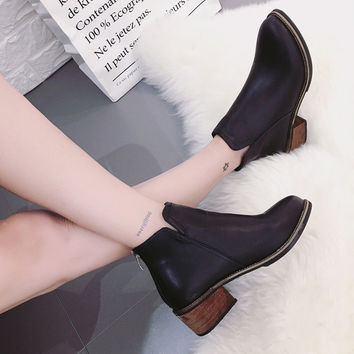 On Sale Hot Deal Zippers Round-toe Winter With Heel Boots [9448883399]