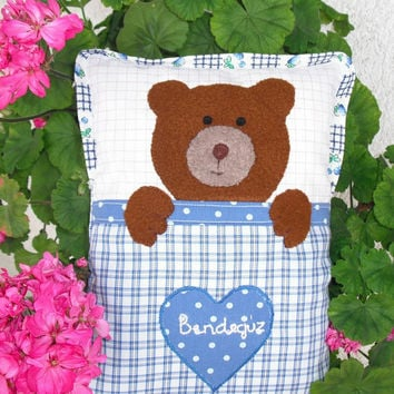 Pillow doll, Bear cushion, Bear pillow, Teddy cushion, Soft toy, Cloth doll, Fabric doll, Handmade