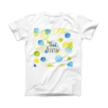 The Think Positive ink-Fuzed Front Spot Graphic Unisex Soft-Fitted Tee Shirt