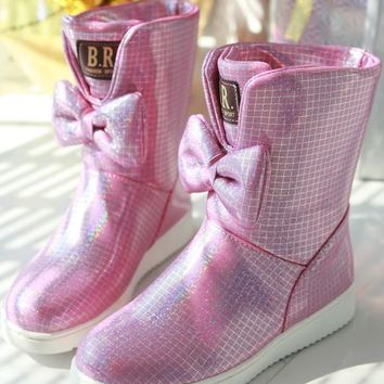 New Grey Round Toe Bow Sequin Fashion Ankle Boots