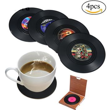 6/4Pcs Retro Vinyl Music Record Drinks Coasters Set Table Cup Mat Drink Placemat