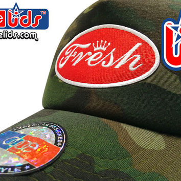 "smARTpatches Truckers Old School ""Fresh"" Trucker Hat DJ Hip Hop Cap Camo Curved Bill Patch by lidstars headwear"