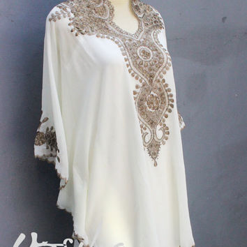 Embroidery Tops Dress Chiffon Summer Party White Womens Kaftan Plus Size Blouse Dress