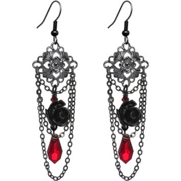 Bygone Blood Rose Dangle Earrings Created with Swarovski Crystals | Body Candy Body Jewelry