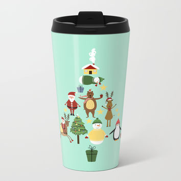 Christmas tree with reindeer, Santa Claus and bear Metal Travel Mug by Graf Illustration