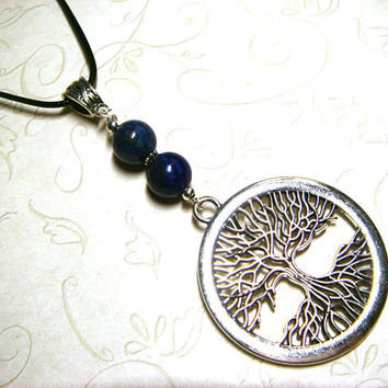 Tree of Life Necklace, Lapis Lazuli Jewelry, Viking Celtic Pagan Spiritual Metaphysical, Unisex, Gift for Him, Gift for Her, Gift for Men