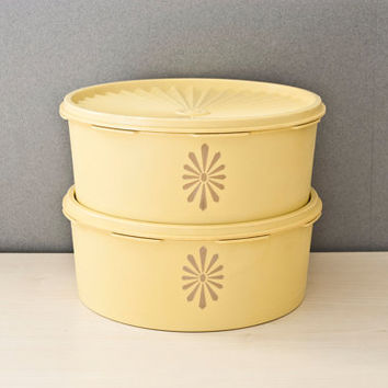 Tupperware Yellow Servalier Stacking Canisters, Round Containers, Daisy Print  Storage Containers Yellow, 1204