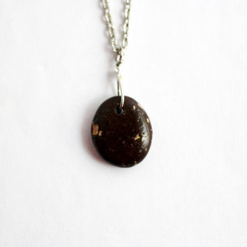 River Rock Necklace, Wire Wrapped, Dark Brown, Beach Stone,  Eco Friendly, Natural  Jewelry, Handmade by Hendywood (4)