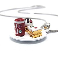 Children's miniature piece of cake and cupcake with soda can pendant necklace