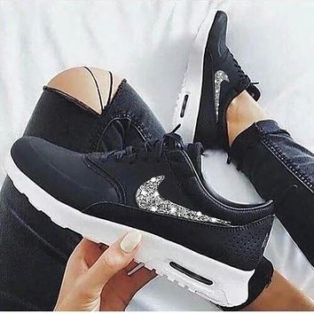 NIKE Air Max Thea Popular Women Men Casual Shiny Diamond Sequin Running Sport Shoes Sneakers Black+Silvery Hook