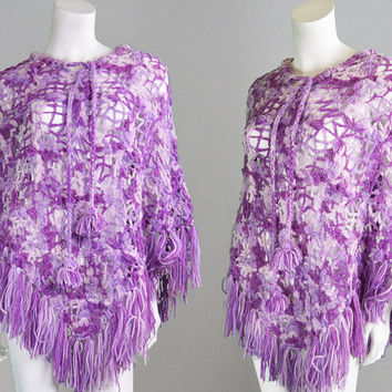 Vintage 70s Purple Ombre Crochet Wool Poncho Fringed Cape Hippy Cape Knit Poncho Wool Shawl Mexican Poncho 1970s Clothing
