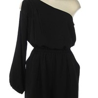 Black One Sleeve Woven Romper with Cinched Waist