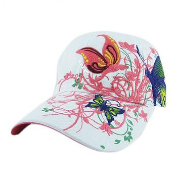 High Quality Hats 2017 Spring Summer Butterfly Embroidered Baseball Cap Women Lady Fashion Adjustable Sunwear Hat Female De292