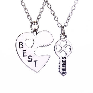 Vintage Key Puzzle Best Friends Necklace Female Split Broken Heart Pendant Necklace Set Couple Friendship Jewelry Accessories