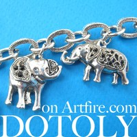 Elephant Linked Animal Charm Bracelet in Silver | Animal Jewelry