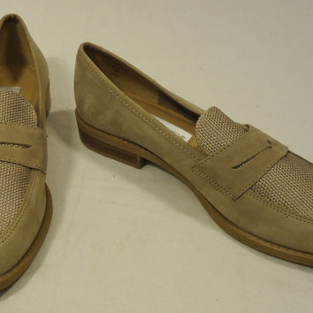 Calico Flat Loafers Shoes Leather Female Adult 7M Beige Solid/Woven 015-16ca -- New No Tags