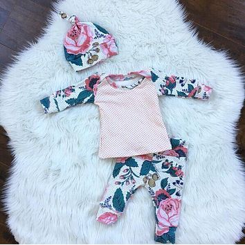 2017 baby girl clothes cotton long-sleeved t-shirt + pants + hat infant 3/pcs suit baby clothing newborn baby girls clothing set