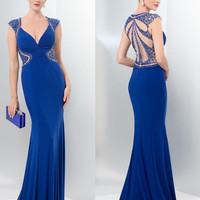 Colors 1423 In Stock Sz 0 Cap Sleeve Back Accent Prom Dress Evening Gown