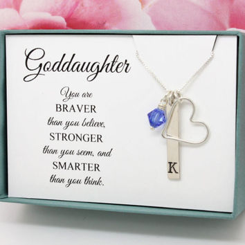 Easter Gift for Goddaughter Bar Necklace, Sterling Silver Initial birthstone initial necklace, God daughter birthday graduation gift