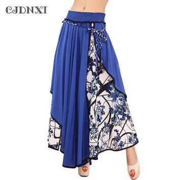 Fashion High Waist Maxi Split Skirts Women Summer 2018 Casual Print Floral Patchwork Asymmetric Pleated Big Hem Lady Long Skirt