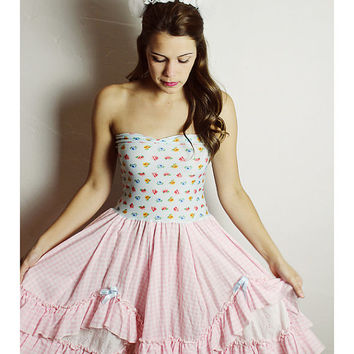 Pink GINGHAM Country RUFFLE Baby Doll DRESS Bow Birthday Party Handmade Western