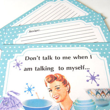 Turquoise Retro Recipe Cards - Set Of 12 - Mid Century Cards - 1950's Housewives - Sarcastic Cards - Vintage Bowls -  1 Section Divider