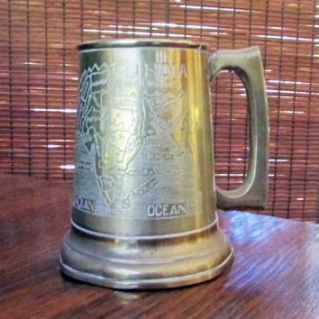 Brass Tankard, Beer Mug, Glass Bottom, Mid Century, Etched, Map India, Taj Mahal