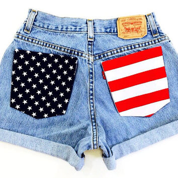American Flag Shorts Levis high waisted Light Wash