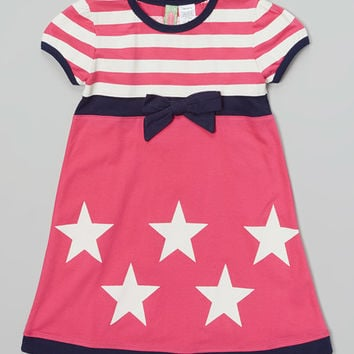 Sophie & Sam Pink & White Stars & Stripes Dress - Infant, Toddler & Girls | zulily