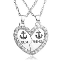 New crystal necklaces pendant for women broken heart best friends forever necklaces female anchor friendship necklace jewelry
