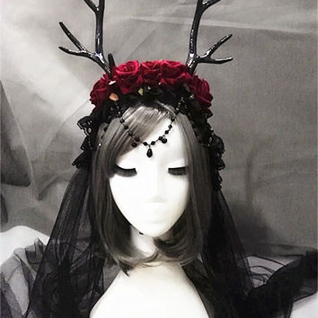 Elk Horn Headbands Rose Lace Veil Deer Antler Headband Fancy Dress Costume