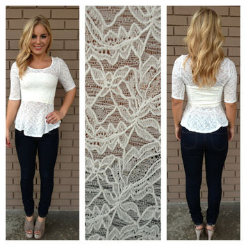 Ivory Lace Babydoll 3/4 Sleeve Top