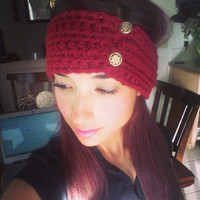 Women's Crochet Earwarmer with Buttons